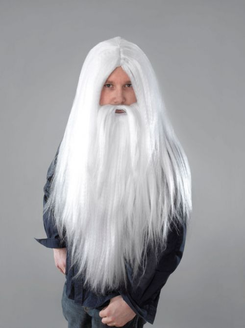 Mens Wizard Beard & Long Wig Magician Magic Merlin Gandalf Fancy Dress Accessory